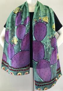 Purple Prickly Pear crepe scarf